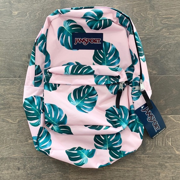 moderate price pick up timeless design Jansport Monstera Pink Palm Leaf Backpack NWT NWT